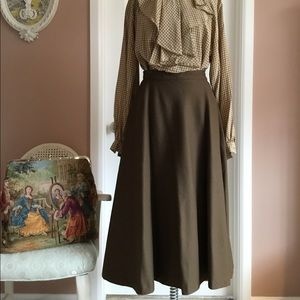 Vintage 1950's Style Olive Circle Skirt